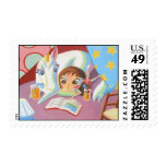 Night time Reading Postage Stamps