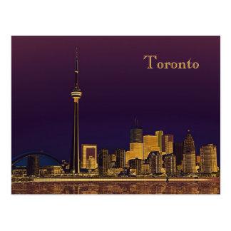 Night Toronto skyline postcard