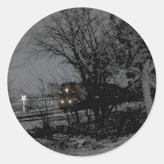 Night train round stickers