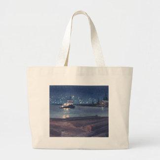 NIGHT TUG by SHARON SHARPE Large Tote Bag