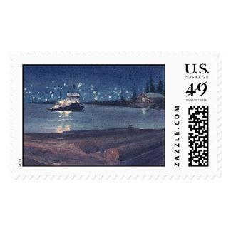 NIGHT TUG by SHARON SHARPE Postage Stamp