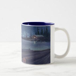 NIGHT TUG from an original watercolor by SHARON SH Two-Tone Coffee Mug