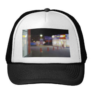 Night urban scene with blurred lights trucker hat