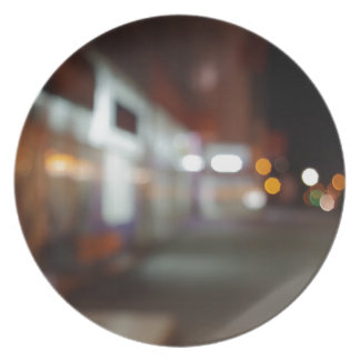 Night urban scene with diffuse lighting shop plate