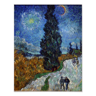night - Van Gogh - Country road in Provence Poster