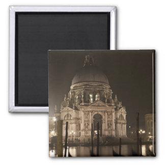 Night view across water of San Giorgio Maggiore 2 Inch Square Magnet
