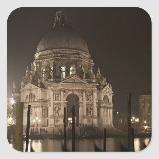 Night view across water of San Giorgio Maggiore Square Stickers