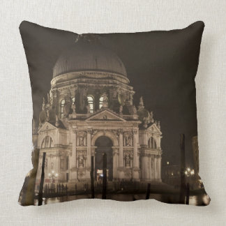 Night view across water of San Giorgio Maggiore Throw Pillow