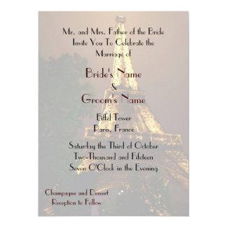 Night View Eiffel Tower Wedding 5.5x7.5 Paper Invitation Card
