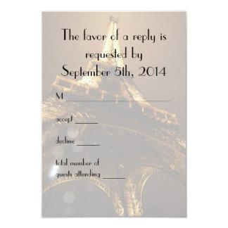 Night View Eiffel Tower Wedding RSVP Card
