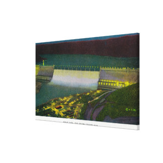 Night View, Grand Coulee Dam Gallery Wrapped Canvas