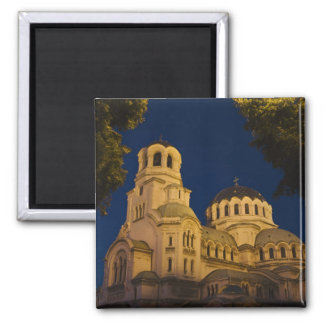 Night view of Alexander Nevski Cathedral 2 Inch Square Magnet