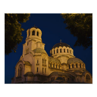 Night view of Alexander Nevski Cathedral Poster