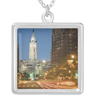 Night view of Benjamin Franklin parkway Personalized Necklace