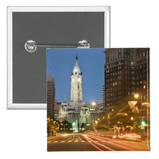 Night view of Benjamin Franklin parkway Pinback Button