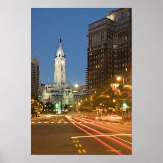 Night view of Benjamin Franklin parkway Posters