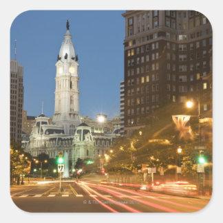 Night view of Benjamin Franklin parkway Sticker