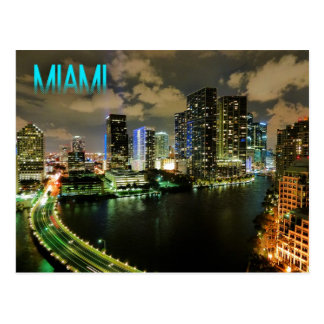 Night View of Brickell Skyline in Miami, Florida Postcard