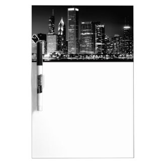Night view of Chicago's famous cityscape Dry-Erase Whiteboard