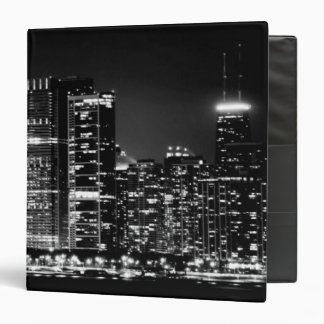 Night view of Chicago's famous cityscape Vinyl Binder