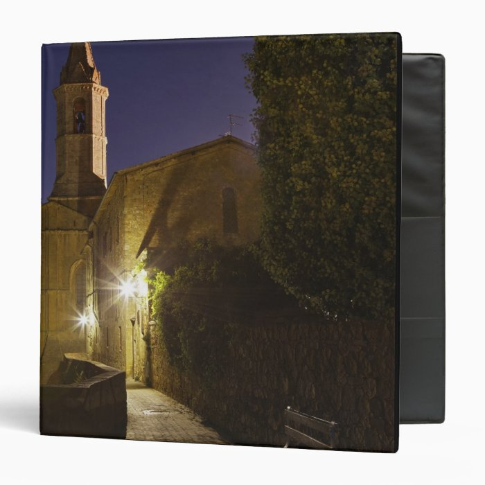 Night view of church at dusk, Pienza, Italy 3 Ring Binder