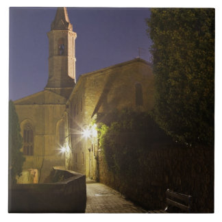 Night view of church at dusk, Pienza, Italy Ceramic Tile