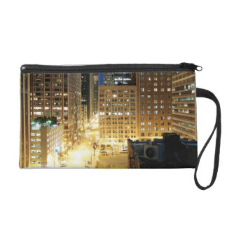 Night view of cityscape of Chicago Wristlet