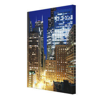 Night view of cityscape of Chicago Canvas Print