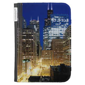 Night view of cityscape of Chicago Kindle Folio Cases