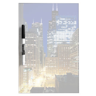 Night view of cityscape of Chicago Dry Erase Board