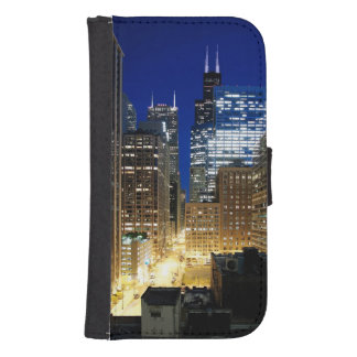 Night view of cityscape of Chicago Galaxy S4 Wallet Case