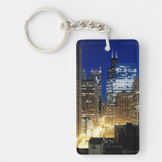Night view of cityscape of Chicago Keychain