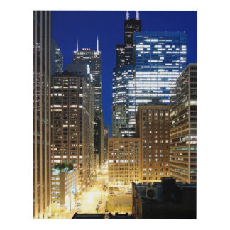 Night view of cityscape of Chicago Panel Wall Art