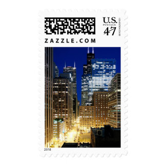 Night view of cityscape of Chicago Postage