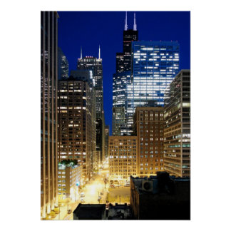 Night view of cityscape of Chicago Poster