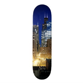 Night view of cityscape of Chicago Skateboard Deck
