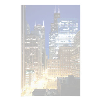 Night view of cityscape of Chicago Stationery