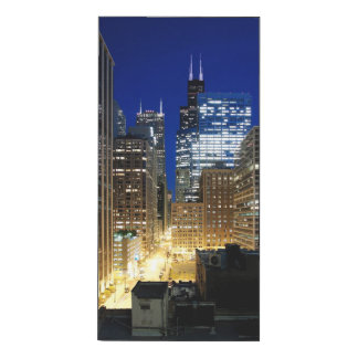 Night view of cityscape of Chicago Wood Print