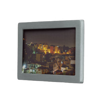 Night view of crowded city rectangular belt buckles