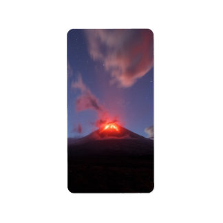 Night view of eruption active volcano label