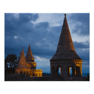 Night view of Fisherman's Bastion, Castle Hil Poster