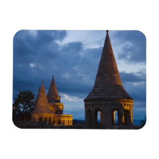 Night view of Fisherman's Bastion, Castle Hil Flexible Magnet