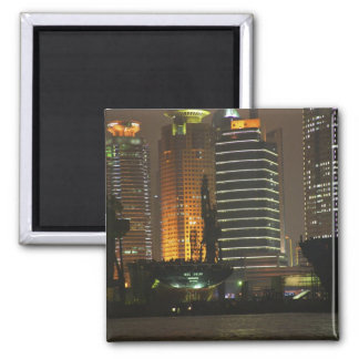 Night view of highrises in Pudong New Area by 2 Inch Square Magnet