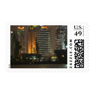Night view of highrises in Pudong New Area by Postage