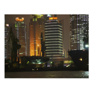 Night view of highrises in Pudong New Area by Postcard