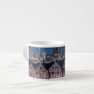 Night view of 'painted ladies'  houses espresso cup
