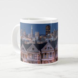 Night view of 'painted ladies'  houses large coffee mug