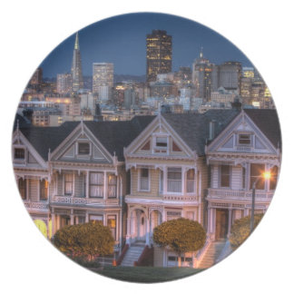 Night view of 'painted ladies'  houses plate