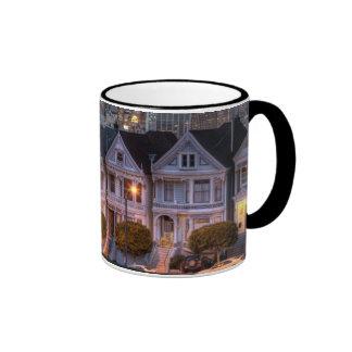 Night view of 'painted ladies'  houses ringer mug
