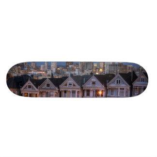 Night view of 'painted ladies'  houses skateboard deck